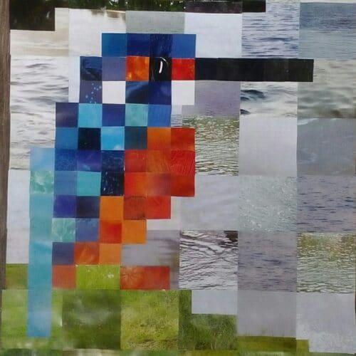 pixel art ijsvogel